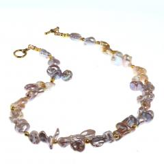 Gemjunky Choker necklace of Wild Funky Shaped Silvery Pearls with Golden Accents - 1926837