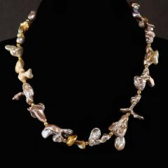 Gemjunky Choker necklace of Wild Funky Shaped Silvery Pearls with Golden Accents - 1926838