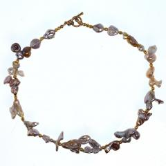 Gemjunky Choker necklace of Wild Funky Shaped Silvery Pearls with Golden Accents - 1926839