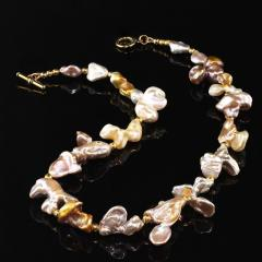 Gemjunky Choker necklace of Wild Funky Shaped Silvery Pearls with Golden Accents - 1926840
