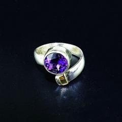 Gemjunky Crossover Amethyst and Sterling Silver Ring - 1970542