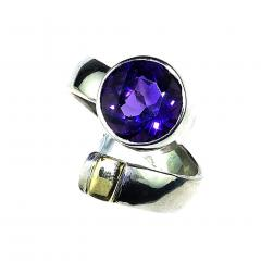 Gemjunky Crossover Amethyst and Sterling Silver Ring - 1970545