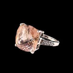 Gemjunky Cushion Cut Morganite in Sterling Silver Ring - 1970530