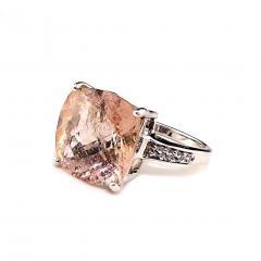 Gemjunky Cushion Cut Morganite in Sterling Silver Ring - 1970531