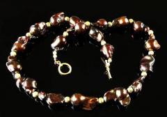 Gemjunky Deep Brown Iridescent Baroque Pearl Necklace - 2006674