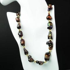 Gemjunky Deep Brown Iridescent Baroque Pearl Necklace - 2006675