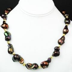 Gemjunky Deep Brown Iridescent Baroque Pearl Necklace - 2006676