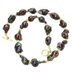 Gemjunky Deep Brown Iridescent Baroque Pearl Necklace - 2006677