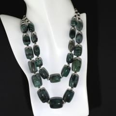 Gemjunky Double strand Graduated Barrel shaped Emerald necklace with Silver - 1926881