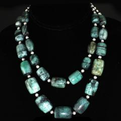Gemjunky Double strand Graduated Barrel shaped Emerald necklace with Silver - 1926882