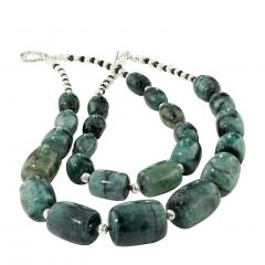 Gemjunky Double strand Graduated Barrel shaped Emerald necklace with Silver - 1926883