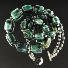 Gemjunky Double strand Graduated Barrel shaped Emerald necklace with Silver - 1926885