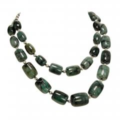 Gemjunky Double strand Graduated Barrel shaped Emerald necklace with Silver - 1927243