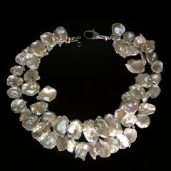 Gemjunky Double strand Iridescent White Keshi Pearl Choker Necklace - 1701237