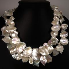 Gemjunky Double strand Iridescent White Keshi Pearl Choker Necklace - 1701270