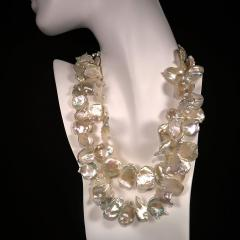 Gemjunky Double strand Iridescent White Keshi Pearl Choker Necklace - 1701271
