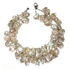 Gemjunky Double strand Iridescent White Keshi Pearl Choker Necklace - 1701279