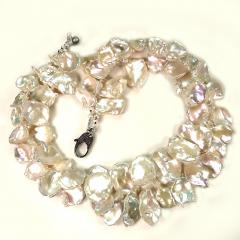 Gemjunky Double strand Iridescent White Keshi Pearl Choker Necklace - 1701281