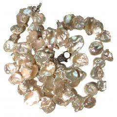 Gemjunky Double strand Iridescent White Keshi Pearl Choker Necklace - 1701294