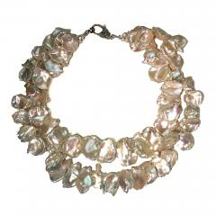 Gemjunky Double strand Iridescent White Keshi Pearl Choker Necklace - 1703180