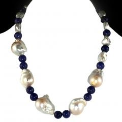 Gemjunky Elegant 17 Inch White Baroque Pearl and Tanzanite Necklace - 1701261