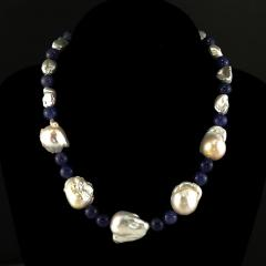 Gemjunky Elegant 17 Inch White Baroque Pearl and Tanzanite Necklace - 1701263