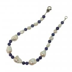 Gemjunky Elegant 17 Inch White Baroque Pearl and Tanzanite Necklace - 1703181