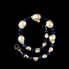 Gemjunky Elegant 17 Inch White Baroque Pearl and Tanzanite Necklace - 1704307