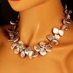 Gemjunky Elegant 19 Inch Iridescent Gray Keshi Pearl Necklace - 1908937