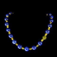 Gemjunky Elegant Blue Lapis Lazuli and Green Peridot Necklace - 1781538