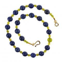 Gemjunky Elegant Blue Lapis Lazuli and Green Peridot Necklace - 1781539