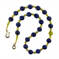 Gemjunky Elegant Blue Lapis Lazuli and Green Peridot Necklace - 1783250