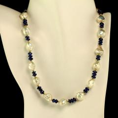 Gemjunky Elegant Blue Sapphire and Lustrous White Pearl Necklace - 1792369