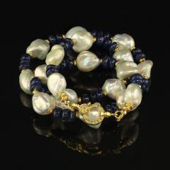 Gemjunky Elegant Blue Sapphire and Lustrous White Pearl Necklace - 1792373