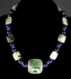 Gemjunky Elegant Green Prehnite and Blue Agate Choker Necklace - 1900127