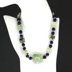Gemjunky Elegant Green Prehnite and Blue Agate Choker Necklace - 1900128