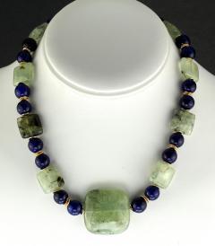 Gemjunky Elegant Green Prehnite and Blue Agate Choker Necklace - 1900129
