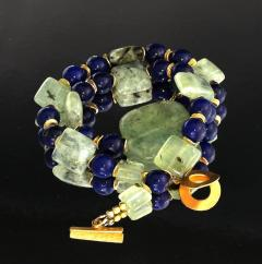 Gemjunky Elegant Green Prehnite and Blue Agate Choker Necklace - 1900130