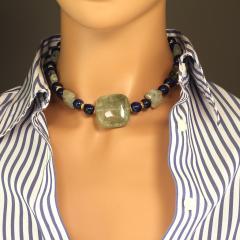 Gemjunky Elegant Green Prehnite and Blue Agate Choker Necklace - 1900133