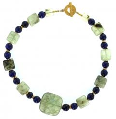 Gemjunky Elegant Green Prehnite and Blue Agate Choker Necklace - 1900137