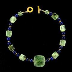 Gemjunky Elegant Green Prehnite and Blue Agate Choker Necklace - 1900140