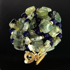 Gemjunky Elegant Green Prehnite and Blue Agate Choker Necklace - 1900143