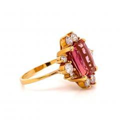 Gemjunky Elegant Pink Tourmaline and Diamond 18K Yellow Gold Ring - 1631521