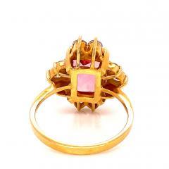 Gemjunky Elegant Pink Tourmaline and Diamond 18K Yellow Gold Ring - 1631522