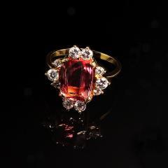 Gemjunky Elegant Pink Tourmaline and Diamond 18K Yellow Gold Ring - 1631523