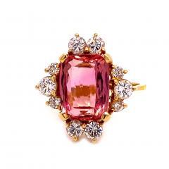 Gemjunky Elegant Pink Tourmaline and Diamond 18K Yellow Gold Ring - 1631524