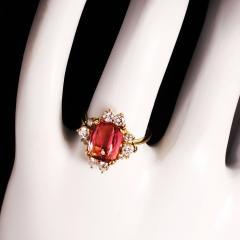 Gemjunky Elegant Pink Tourmaline and Diamond 18K Yellow Gold Ring - 1631525