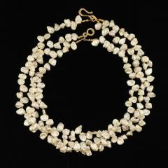 Gemjunky Elegant Three strand White Pearl necklace with Pyrite accents - 1908926