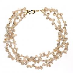 Gemjunky Elegant Three strand White Pearl necklace with Pyrite accents - 1908927