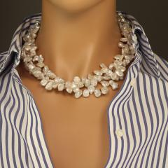 Gemjunky Elegant Three strand White Pearl necklace with Pyrite accents - 1908928